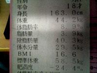 入学時の身体記録