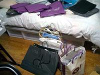 紫色の袋が沢山